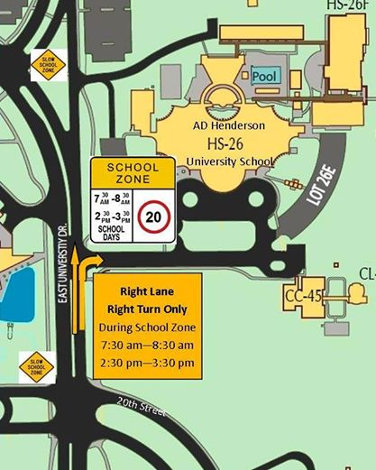 University Drive will be a turn only lane into Henderson school from 7:30 am - 8:30 am & 2:30 pm - 3:30 pm.