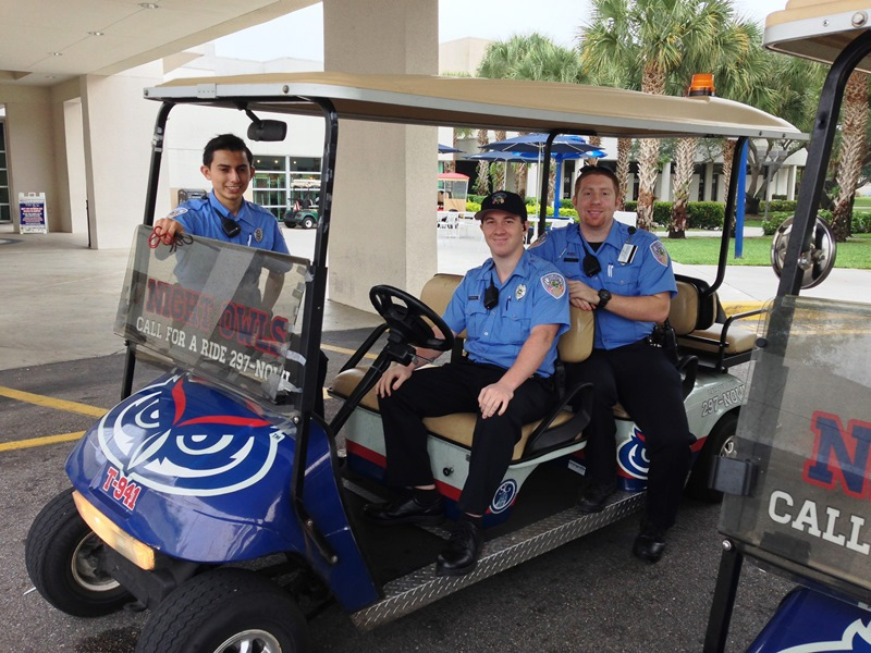FAU PD Community Service Officers assisting in transporting guests to Commencement Ceremonies.