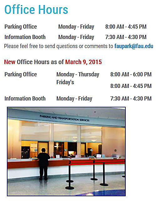 New Office Hours as of March 9, 2015 Monday - Thursday 8-6 PM, Fridays 8-4:45 PM